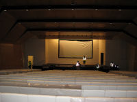 Installing the screen in the auditorium