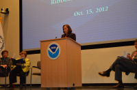 Acting National Weather Service Director Laura Furgione in her role as MC.