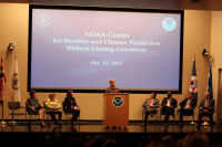 NOAA Adminstrator Lubchenco speaking at the ceremony.