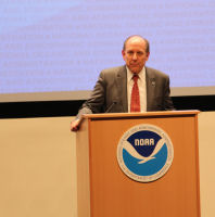 NCEP Director Uccellini provides closing remarks for the ceremony.