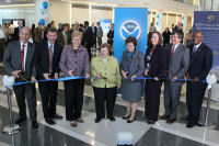 Just prior to ribbon cutting: NCEP Director Uccellini, Acting GSA Director Tangherlini, NOAA Administrator Lubchenco, Senator Mikulski, Acting Secretary of Commerce Blank, Acting NWS Director Furgione, UMD President Loh, Prince George.s County Executive Baker.