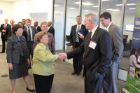 Senator Mikulski meeting Dave Benner at beginning of the tour for the event speakers.