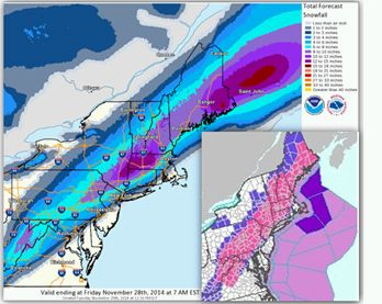 Example of the WPC deterministic snowfall forecast and the associated Warnings and Advisories (insert) issued by local forecast offices for the pre-Thanksgiving storm of 2014.