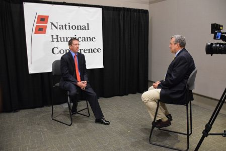 Former NHC Director Bill Read, now a consultant to a Houston TV station, interviews current NHC Director Dr. Rick Knabb at the National Hurricane Conference.