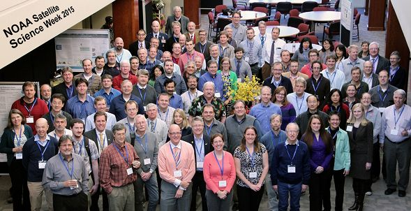 Group picture of participants at NOAA's Satellite Science Week meeting.