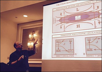 Acting OPC Director Joseph Sienkiewicz leading marine weather tutorials during the Tall Ships America Conference.