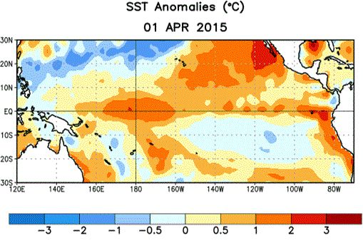 Average sea surface temperature (SST) anomalies (°C) for the week centered on 1 April 2015. Anomalies are computed with respect to the 1981-2010 base period weekly means.