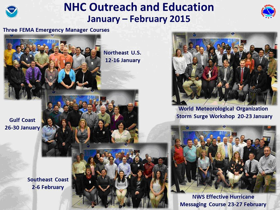 Class photos of each NHC training session, January & February, 2015.