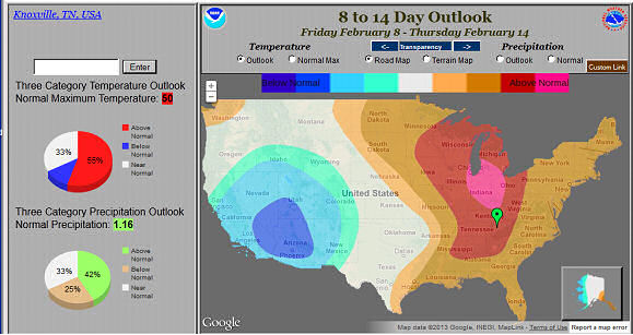 Web Tool for displaying CPC's 8-14 Day Temperature and Precipitation Outlooks.