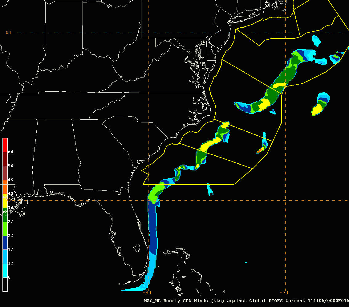 Areas of hazardous surface wave conditions in the Gulf Stream off the North Atlantic coast.