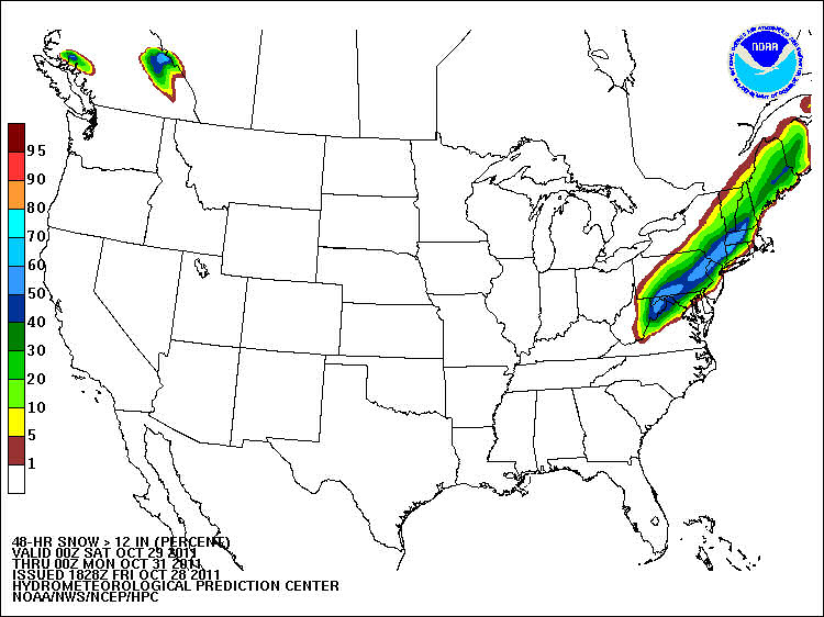 48-h probability of snowfall exceeding 12 inches by 00 UTC Monday 31 October 2011