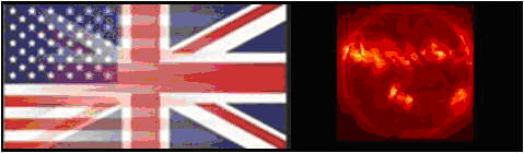 Image showing the U.S. and UK flags along with a solar image.