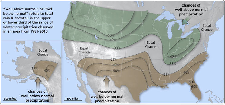 December 2011 - February 2012 Precipitation Outlook:  Shaded areas are favored to have above average (green) or below average (brown) precipitation.