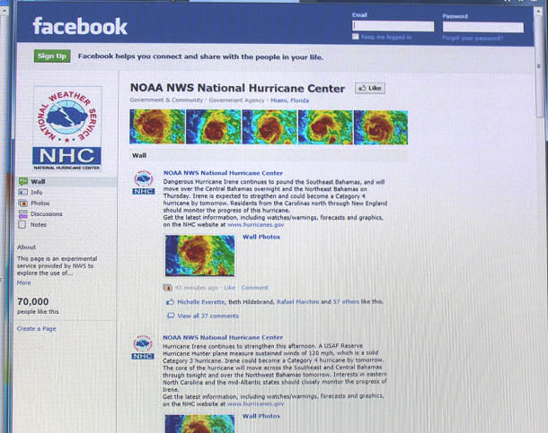 The NHC Facebook page as Major Hurricane Irene approached the Bahamas.