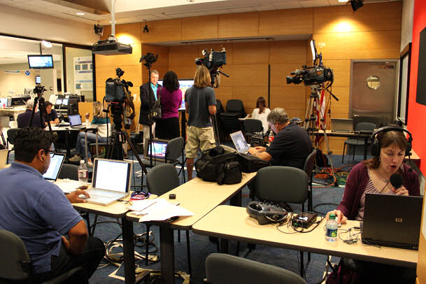 The NHC media room during Hurricane Irene as the storm approached the Northeast.