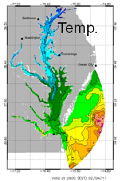 Temperature forecast field for the Chesapeake Bay.