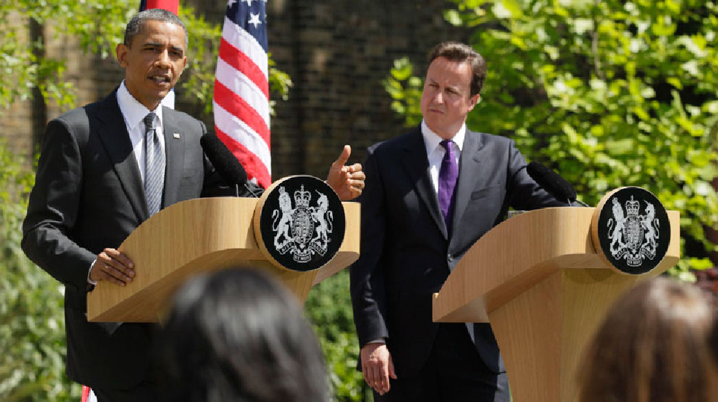 President Barack Obama and UK Prime Minister David Cameron participate in a joint news conference at Lancaster House in London, Wednesday, May 25, 2011.