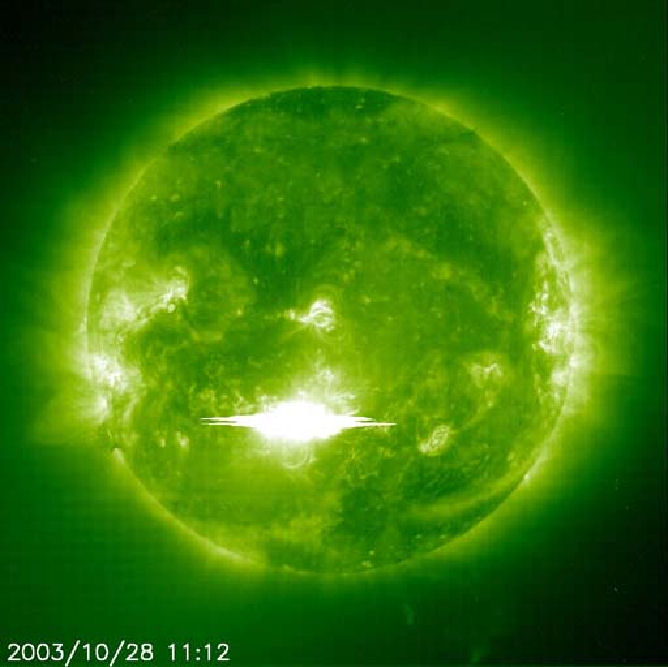 Image of a flare from SOHO satellite in 2003.