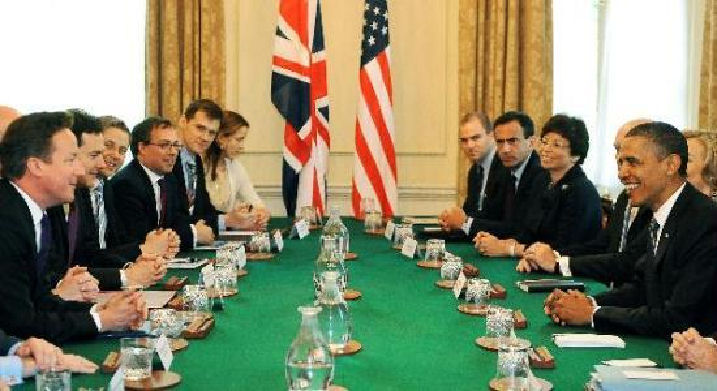 UK Prime Minister David Cameron holds bilateral talks with U.S. President Barack Obama and his delegation on May 25, 2011.