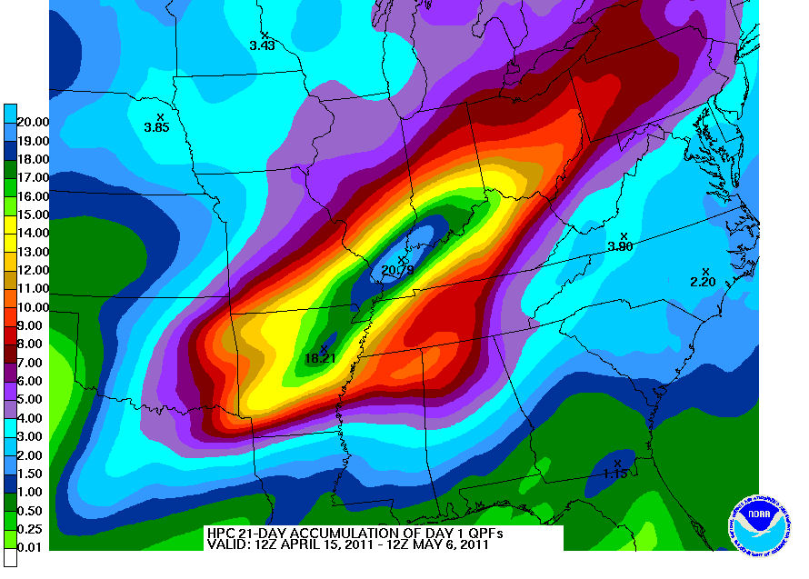HPC aggregated Day 1 QPF
