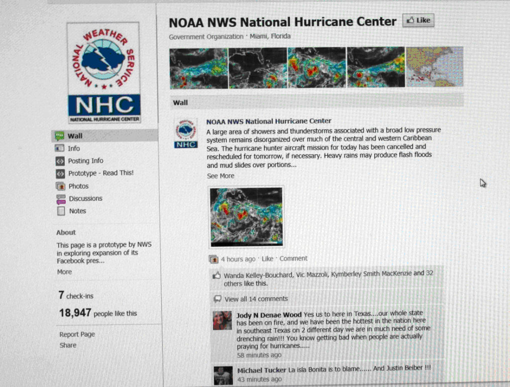 The NHC Facebook page had nearly 20,000 followers just days into the 2011 hurricane season.