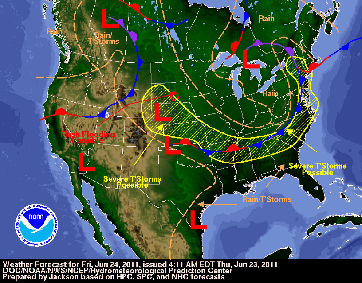Day Two National Forecast Chart for Friday, June 24, 2011, issued Thursday morning, June 23, 2011.