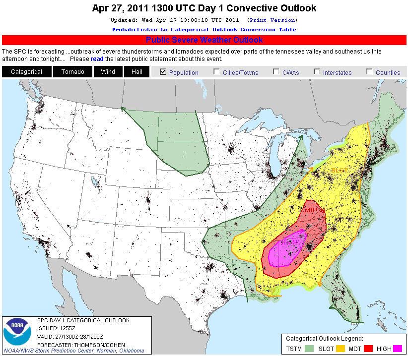 NOAA-NWS Storm Prediction Center severe weather outlook issued the morning of 27 April 2011 with High Risk for the primary tornado outbreak area.  An underlay of population density highlights the major population centers within the high risk area, including Tuscaloosa, Birmingham, Huntsville, AL and Chattanooga, TN.