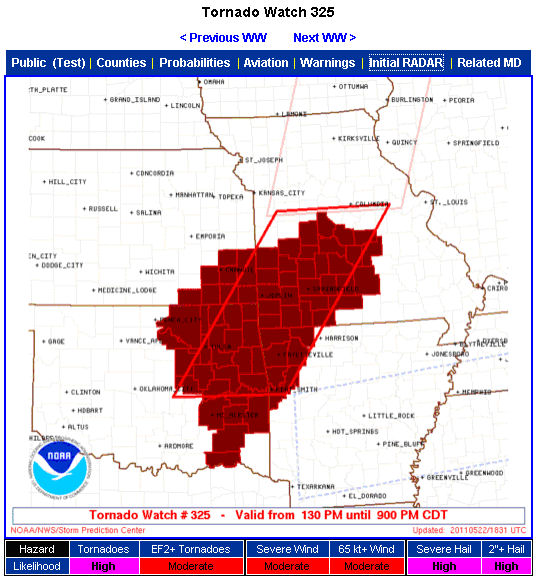 Tornado Watch 325 which included Joplin, MO issued at 1:30 pm on 22 May 2011