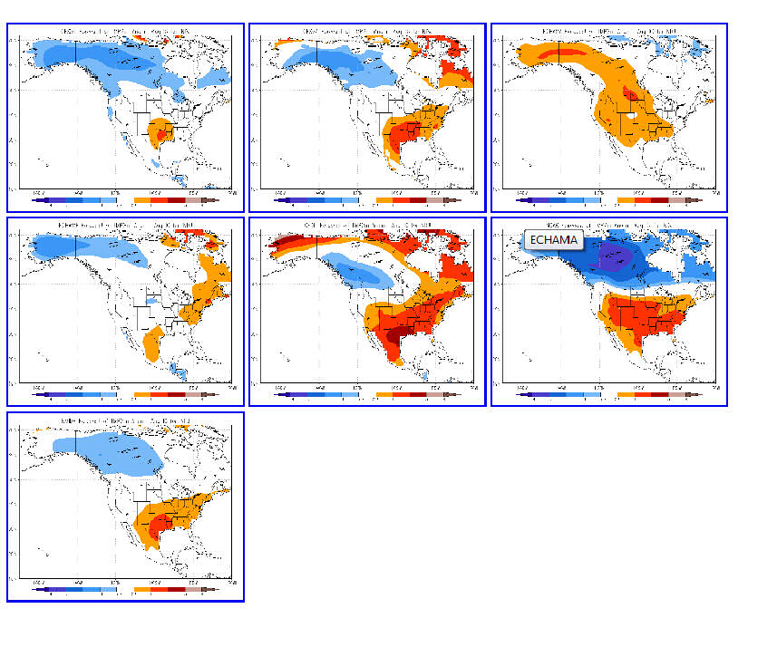 Winter 2011-12 2-meter temperature anomalies from 6 different models and the multi-model mean (lower left corner) for North America.  Red (blue) indicates above (below) average temperatures.