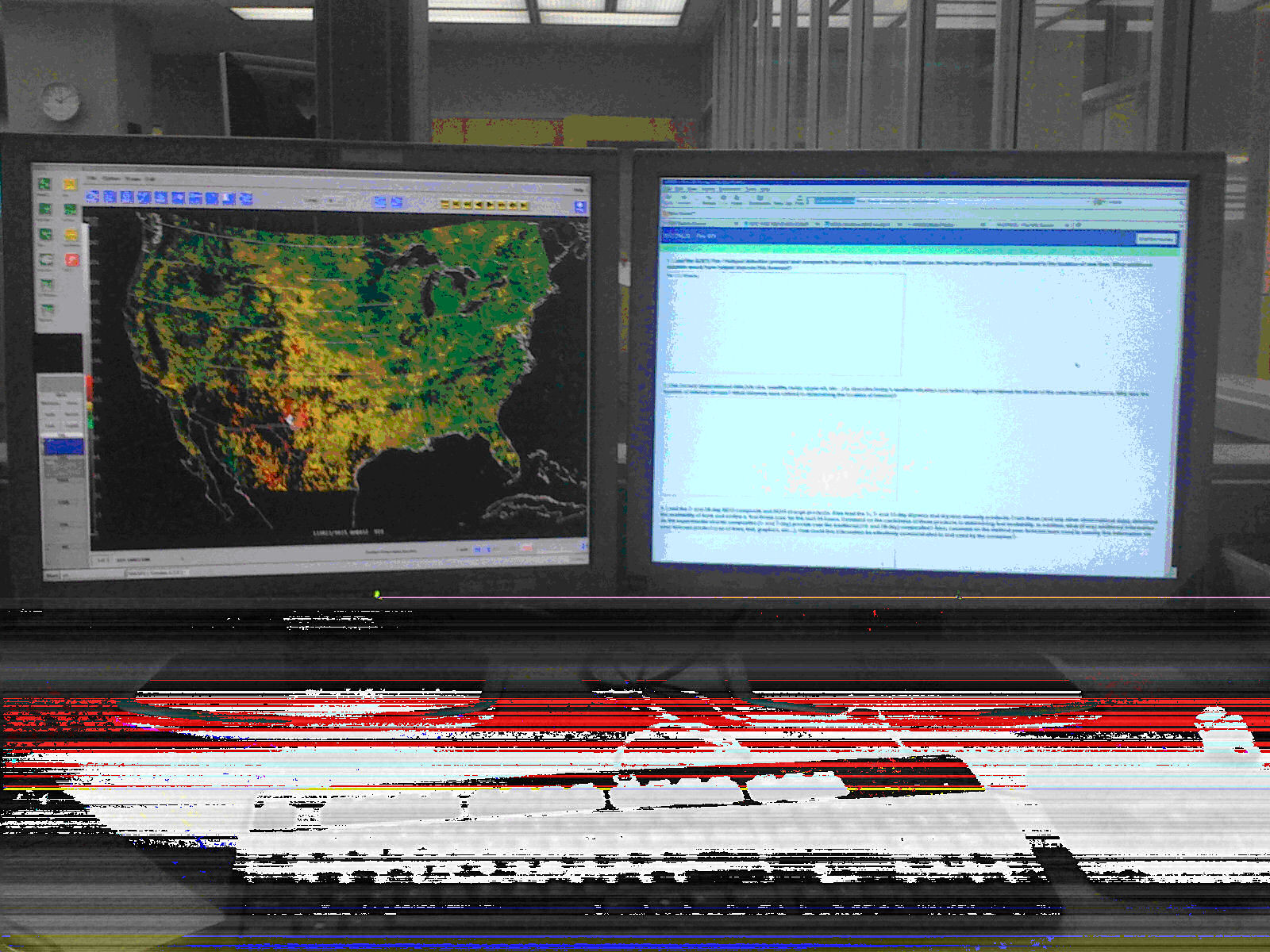 Fig. 2 – HWT N-AWIPS workstation with experimental GOES surface dryness (left panel) and online forecast discussion / feedback form (right panel) used during the 2011 fire weather experiment.