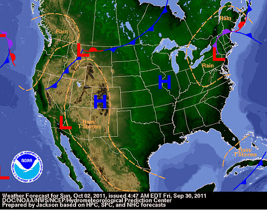 Day 3 National Forecast Chart for Sunday, October 2, 2011