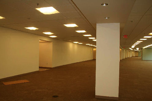 Figure 1 – Second floor carpet, paint, and ceiling tiles are complete.