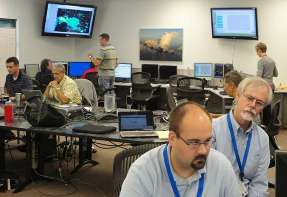 Figure 3. Aviation Weather Testbed Experiment participants at work.
