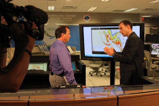 CNN meteorologist Chad Meyers interviews NHC storm surge team leader Jamie Rhome regarding the storm surge hazard and the new storm surge products to be introduced in 2014 and 2015.