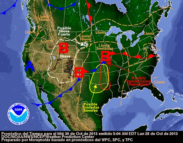 Spanish language version of Day 2 National Forecast Chart valid October 30, 2013.